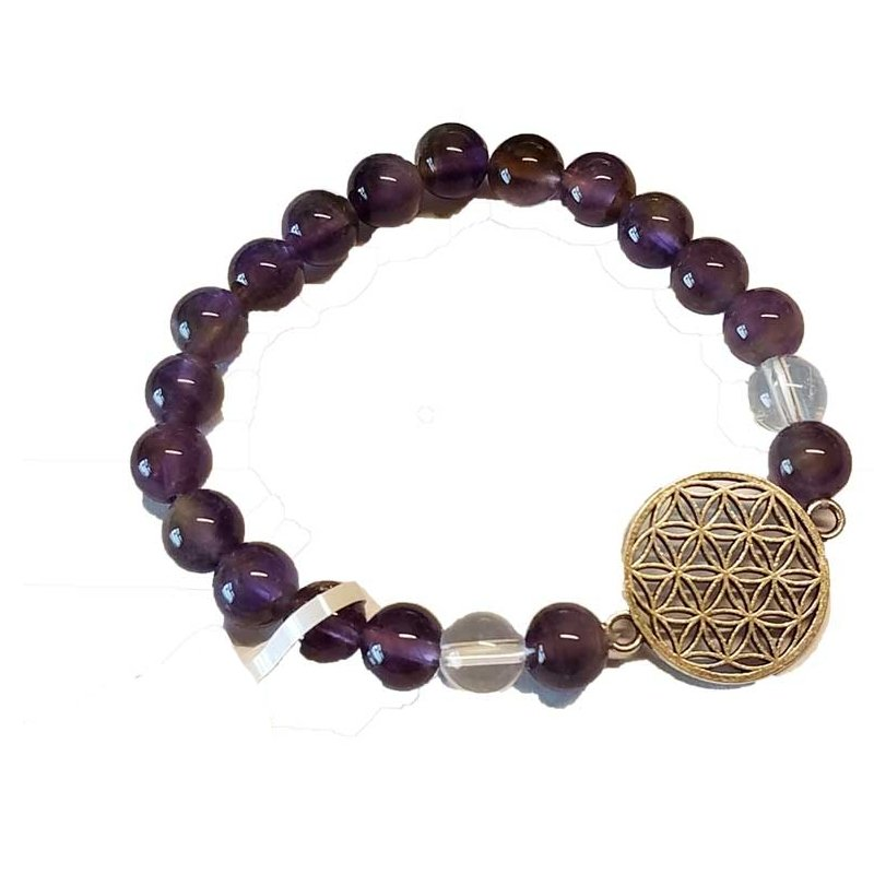 Amethyst Flower of Life Bead Bracelet - Tarah Co.