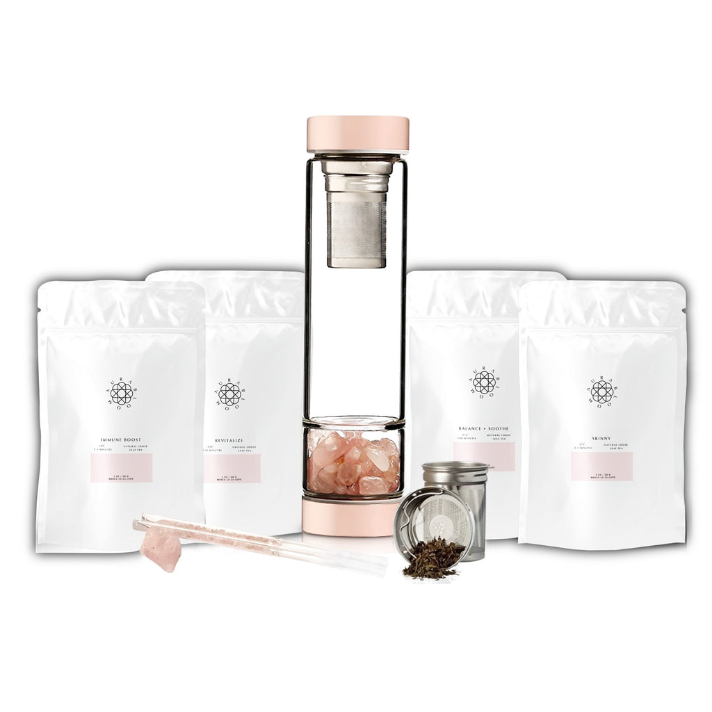 Crystal Tea Infuser Bottle + Loose Tea Sampler Set - TARAH CO.