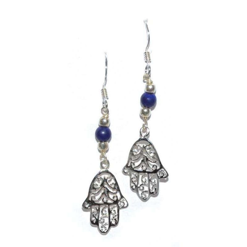 Fatima Hand Lapis Earrings - Tarah Co.