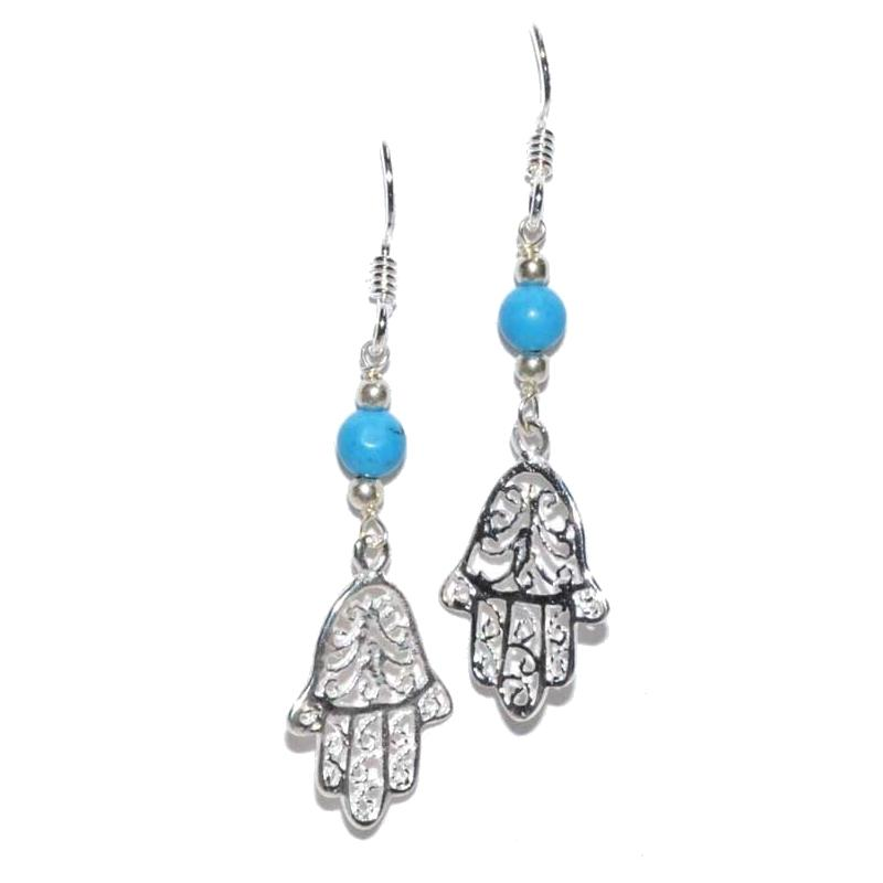 Fatima Hand Turquoise Earrings - Tarah Co.