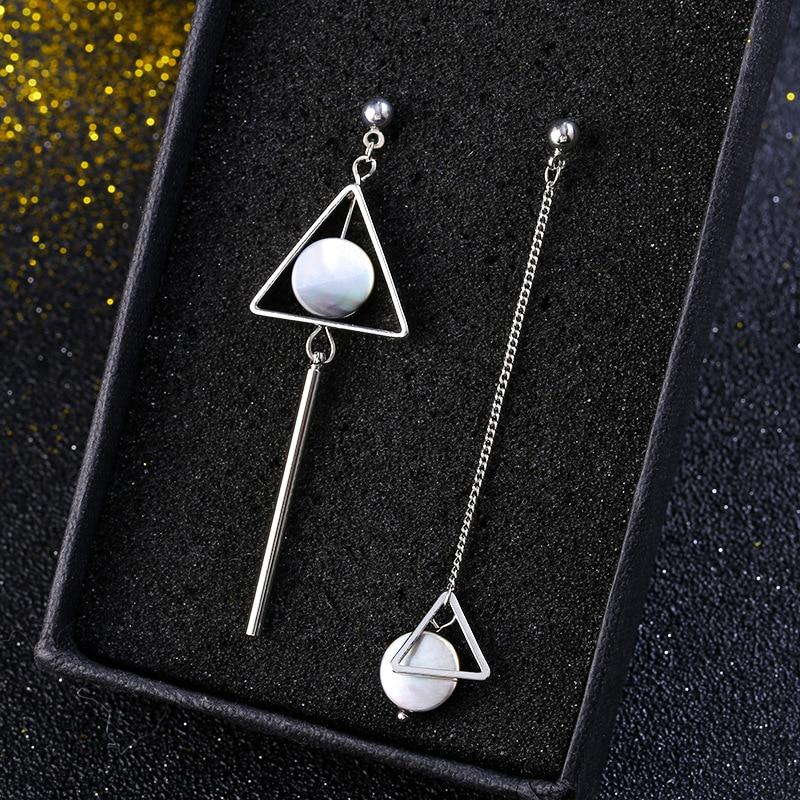Geometric Shell Drop Earrings - Tarah Co.