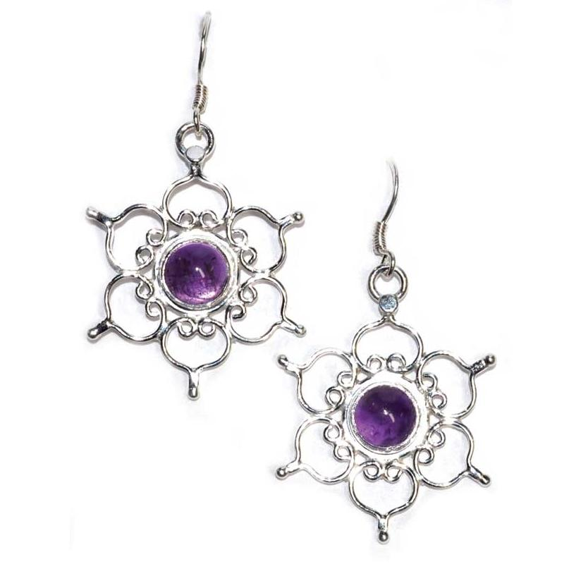 Lotus Amethyst Earrings - Tarah Co.