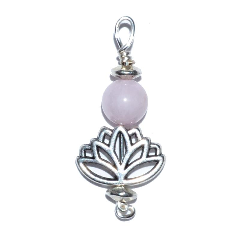 Lotus Rose Quartz Bead Pendant - Tarah Co.