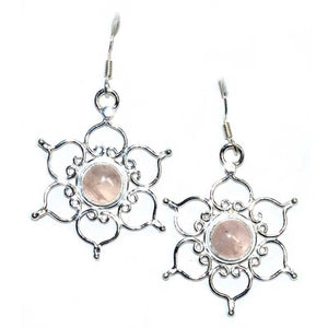 Lotus Rose Quartz Earrings - Tarah Co.