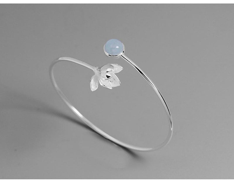 Magnolia Flower Bangle Bracelet - Tarah Co.