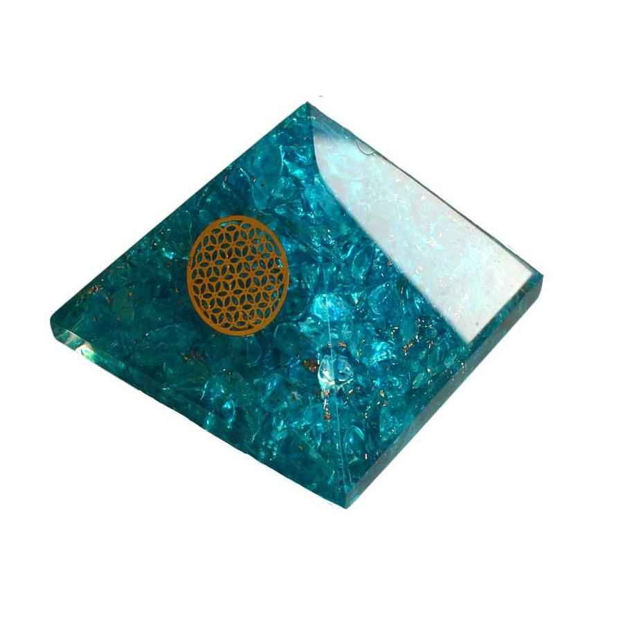Orgone Blue Topaz & Flower Pyramid, 70mm - TARAH CO.