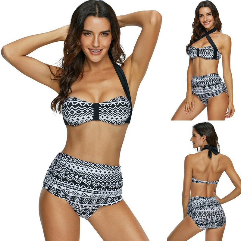 Peak Through High Waisted Bikini Set - Tarah Co.