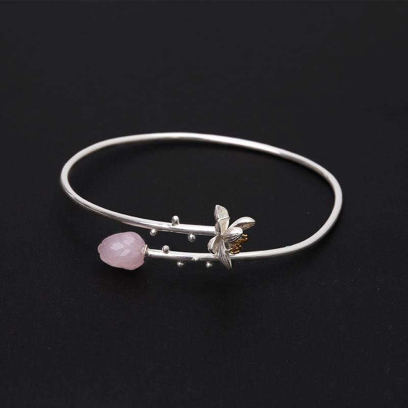 Rose Lotus Whisper Bangle Bracelet - Tarah Co.