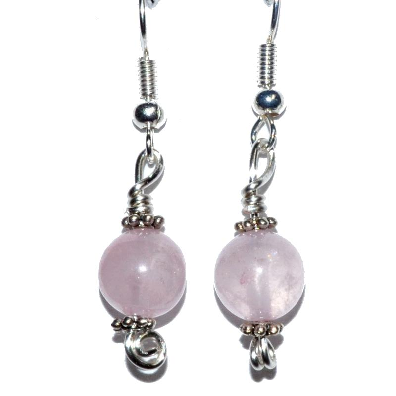 Rose Quartz Dangle Earrings - Tarah Co.