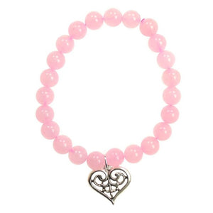 Rose Quartz Love Heart Scroll Bracelet - Tarah Co.