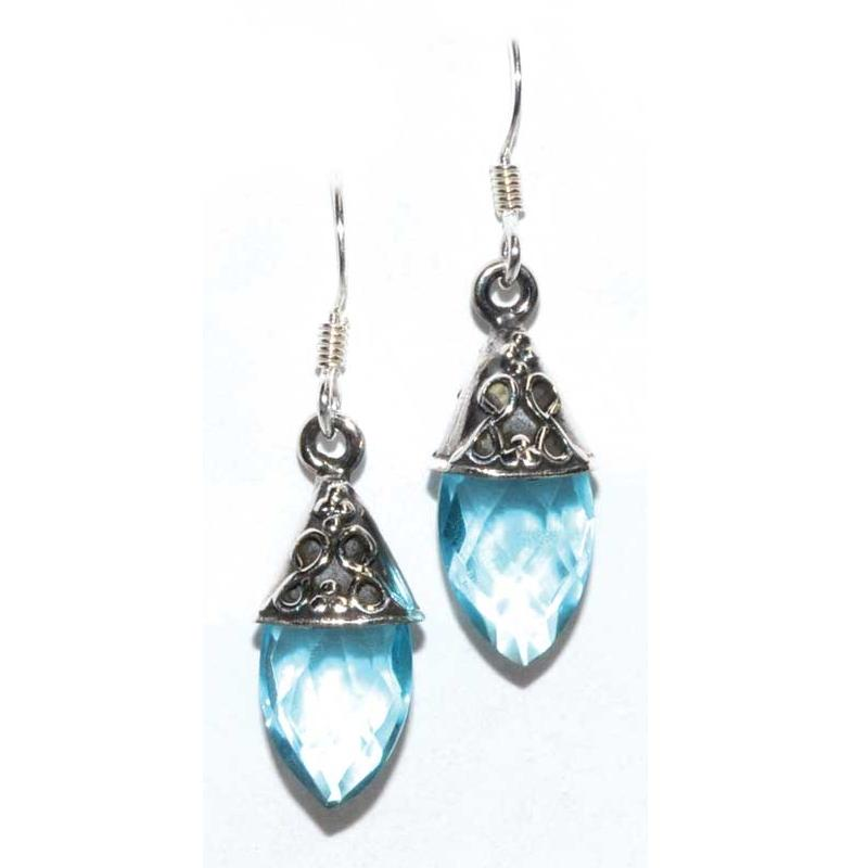 Teardrop Blue Topaz Earrings - Tarah Co.