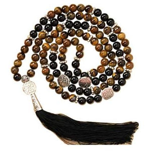 Tiger Eye & Black Agate Mala Beads - Tarah Co.