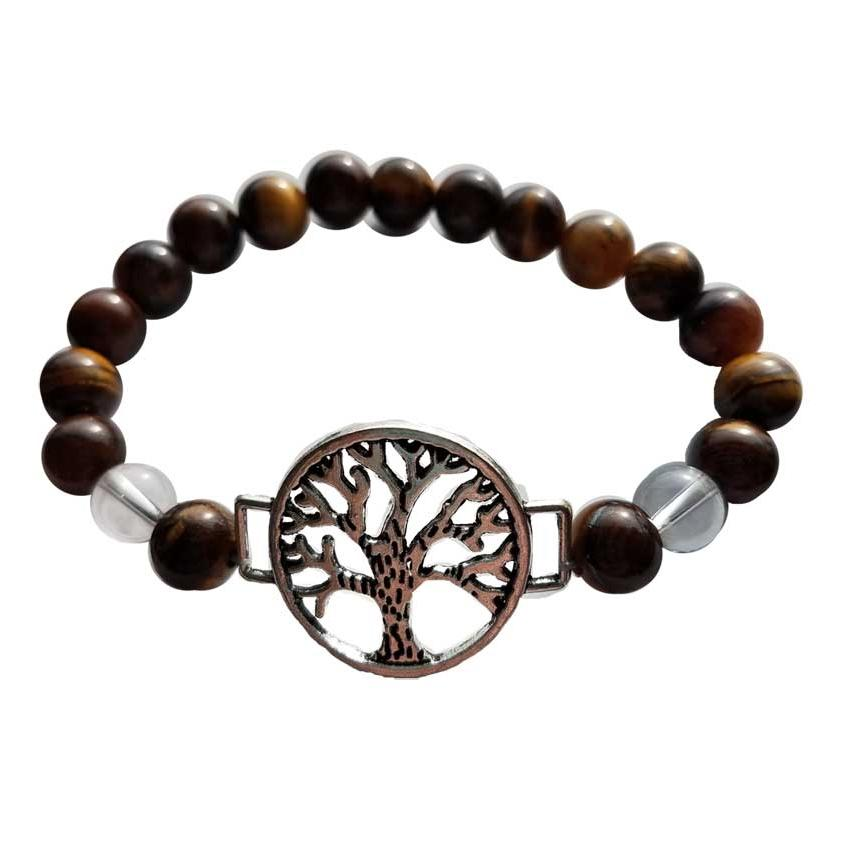 Tiger Eye & Quartz Tree of Life Bracelet - Tarah Co.