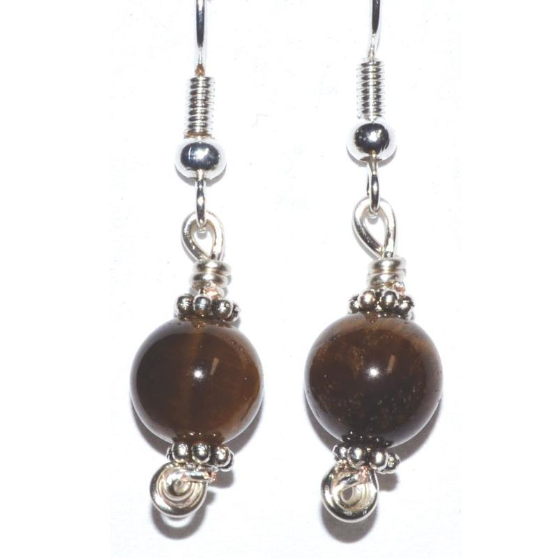 Tiger's Eye Dangle Earrings - Tarah Co.