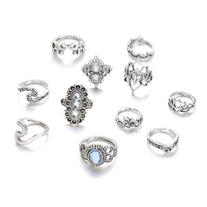 Wave Crystal Ring Set - Tarah Co.