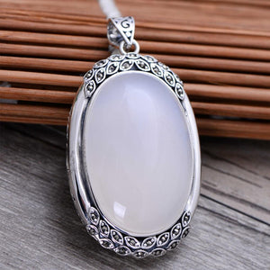 White Chalcedony Pendant Necklace - Tarah Co.