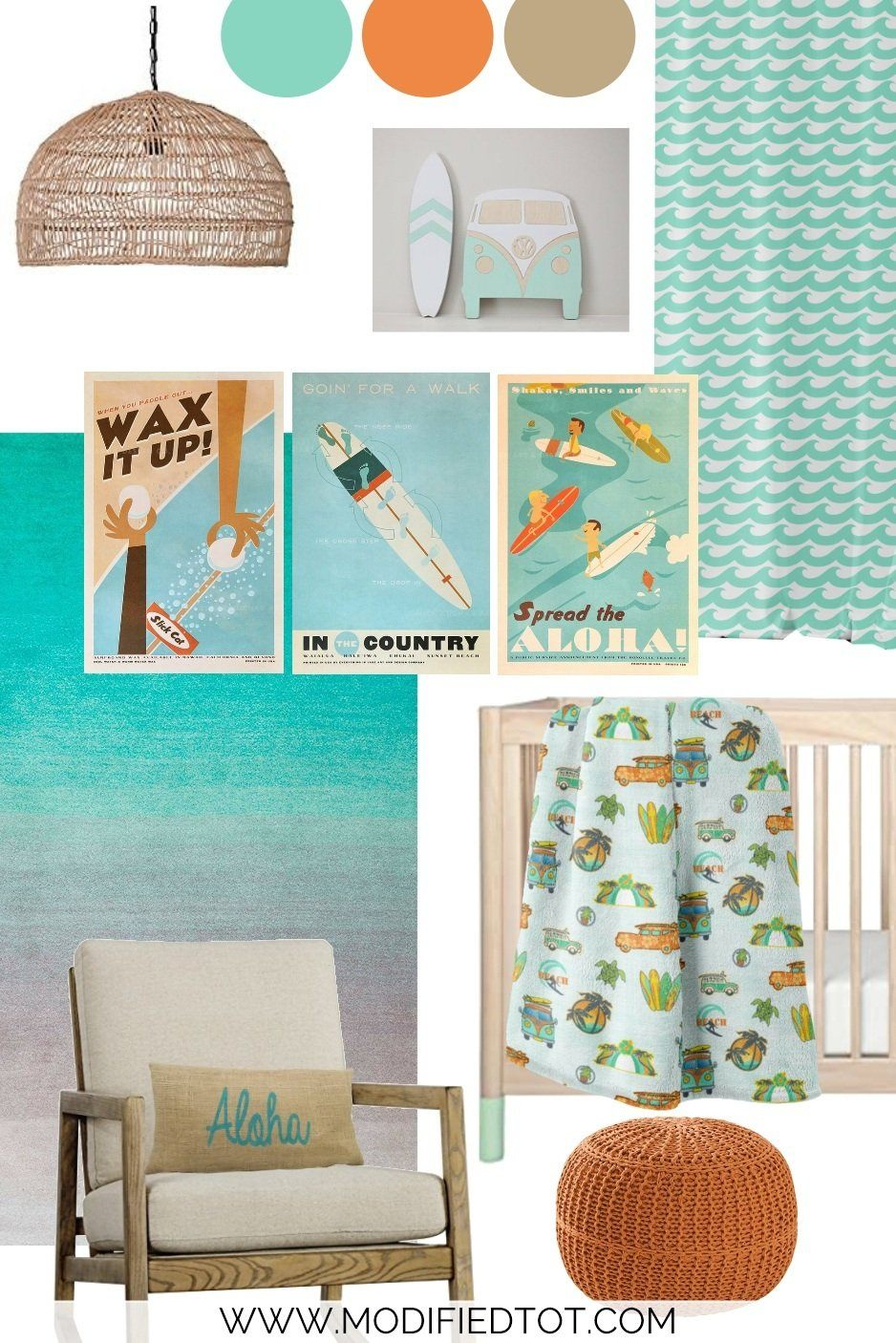 Nursery Design Board: Vintage Surfer Nursery