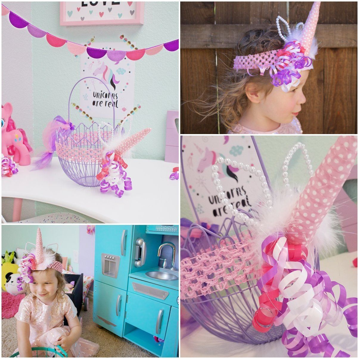 Unicorn Easter Basket & Headband