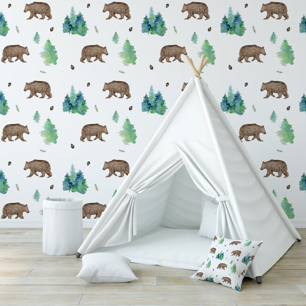 Bear Forest Removable Wallpaper Wallpaper Modified Tot