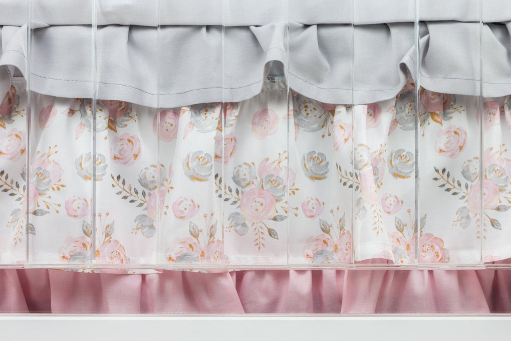Blush Gold Floral Crib Bedding (3 Pcs: Rail Guards, Sheet, Skirt) Crib Bedding Modified Tot