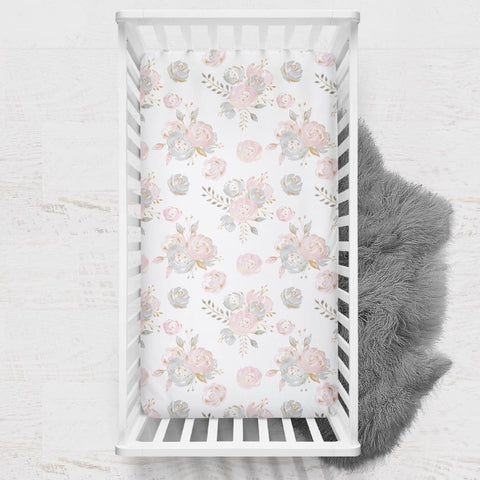 Blush Gold Floral Crib Sheet Crib Bedding Modified Tot