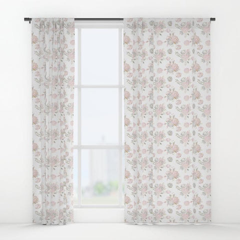 Blush Gold Floral Curtain Panel Curtain Panels Modified Tot