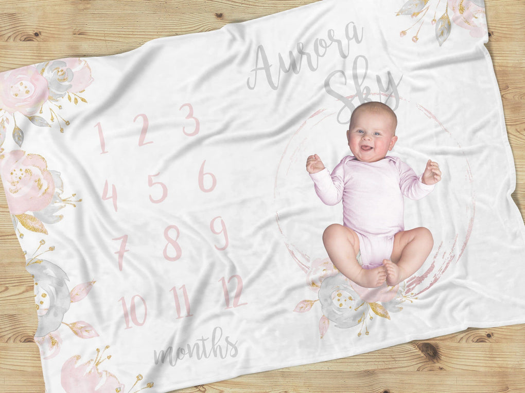Blush Gold Floral Milestone Blanket Minky Blanket Modified Tot