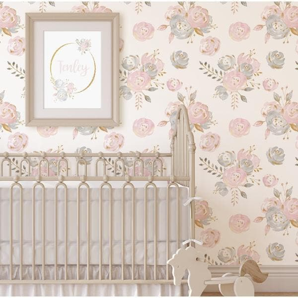 Blush Gold Floral Removable Wallpaper Wallpaper Modified Tot