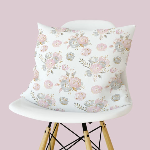 Blush Gold Floral Throw Pillow Throw Pillow Modified Tot