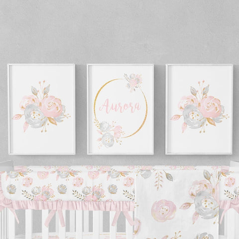 Blush Gold Floral Wall Art Trio (Download) download Modified Tot