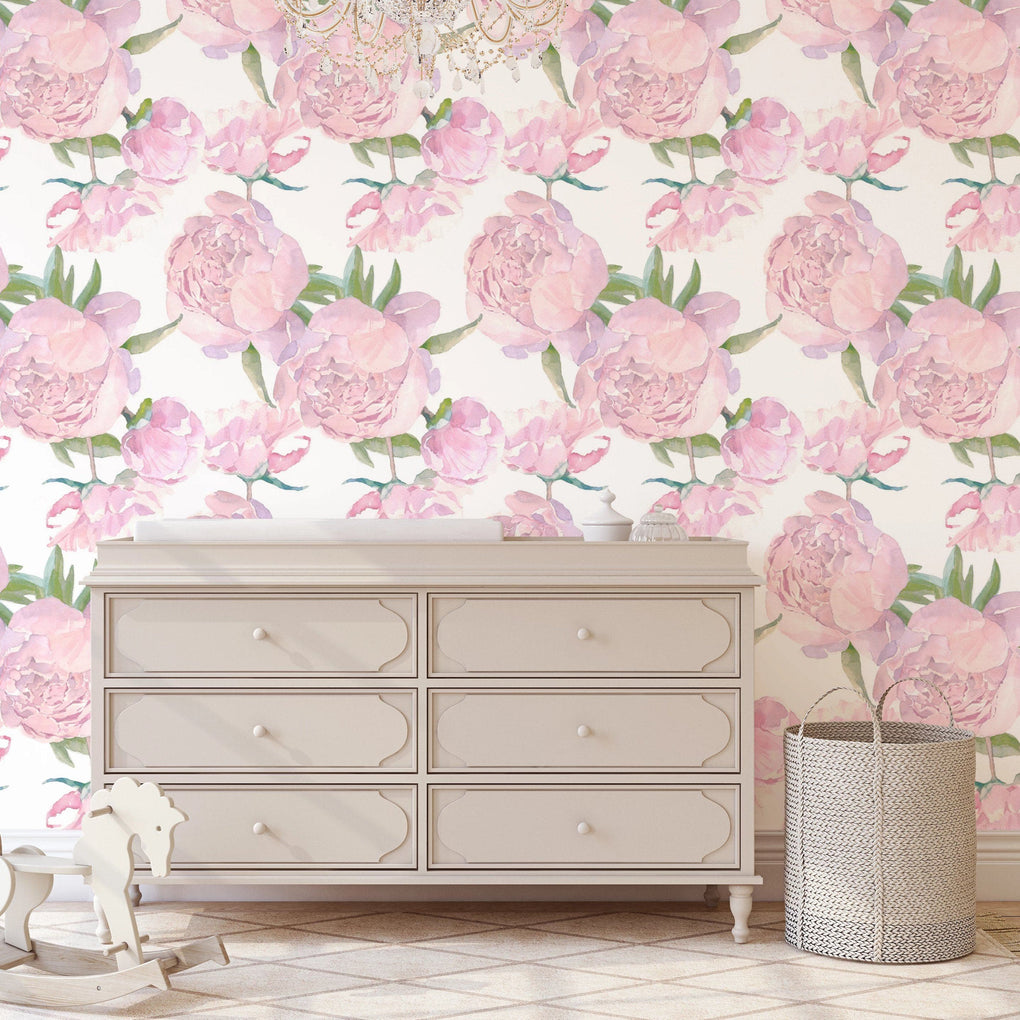 Blush Peony Removable Wallpaper Wallpaper Modified Tot