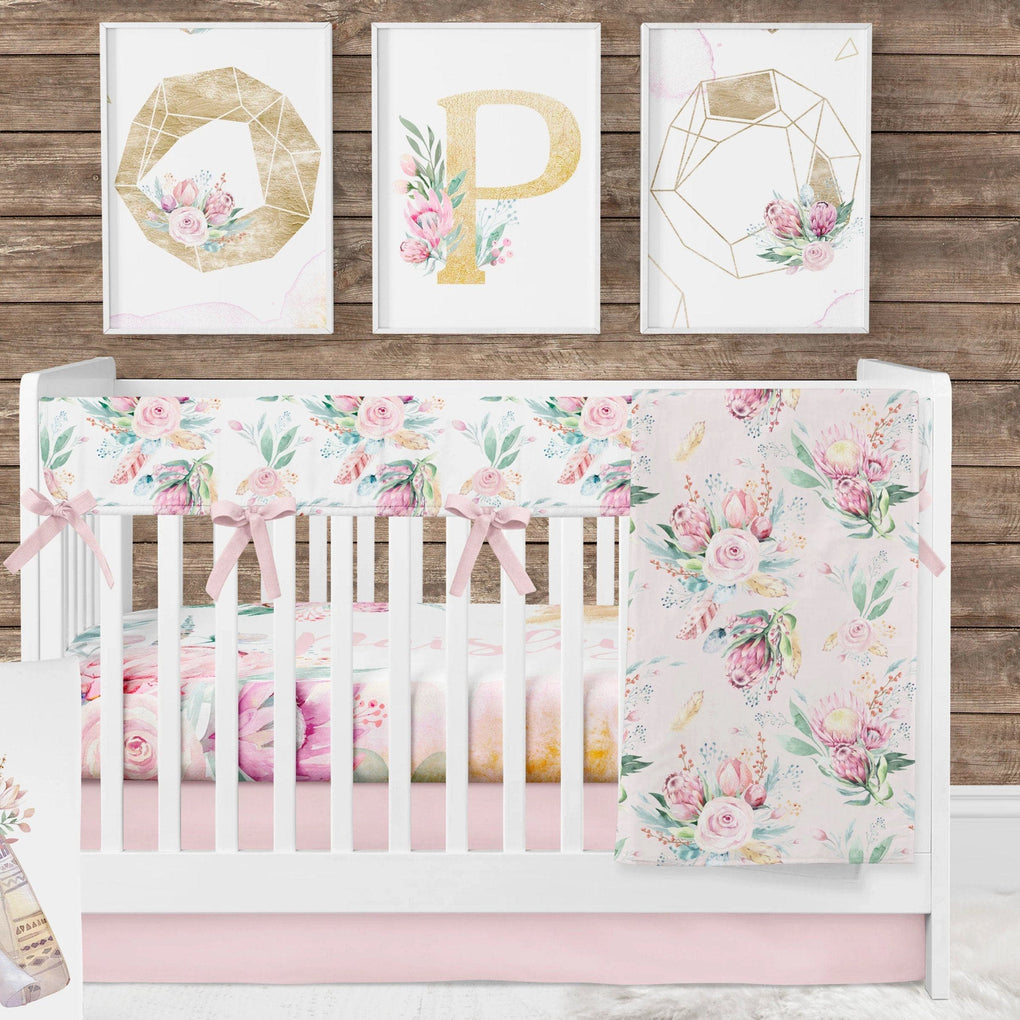 Boho Babe Rail Guard Crib Bedding (3 or 4 Pcs Set) Crib Bedding Modified Tot