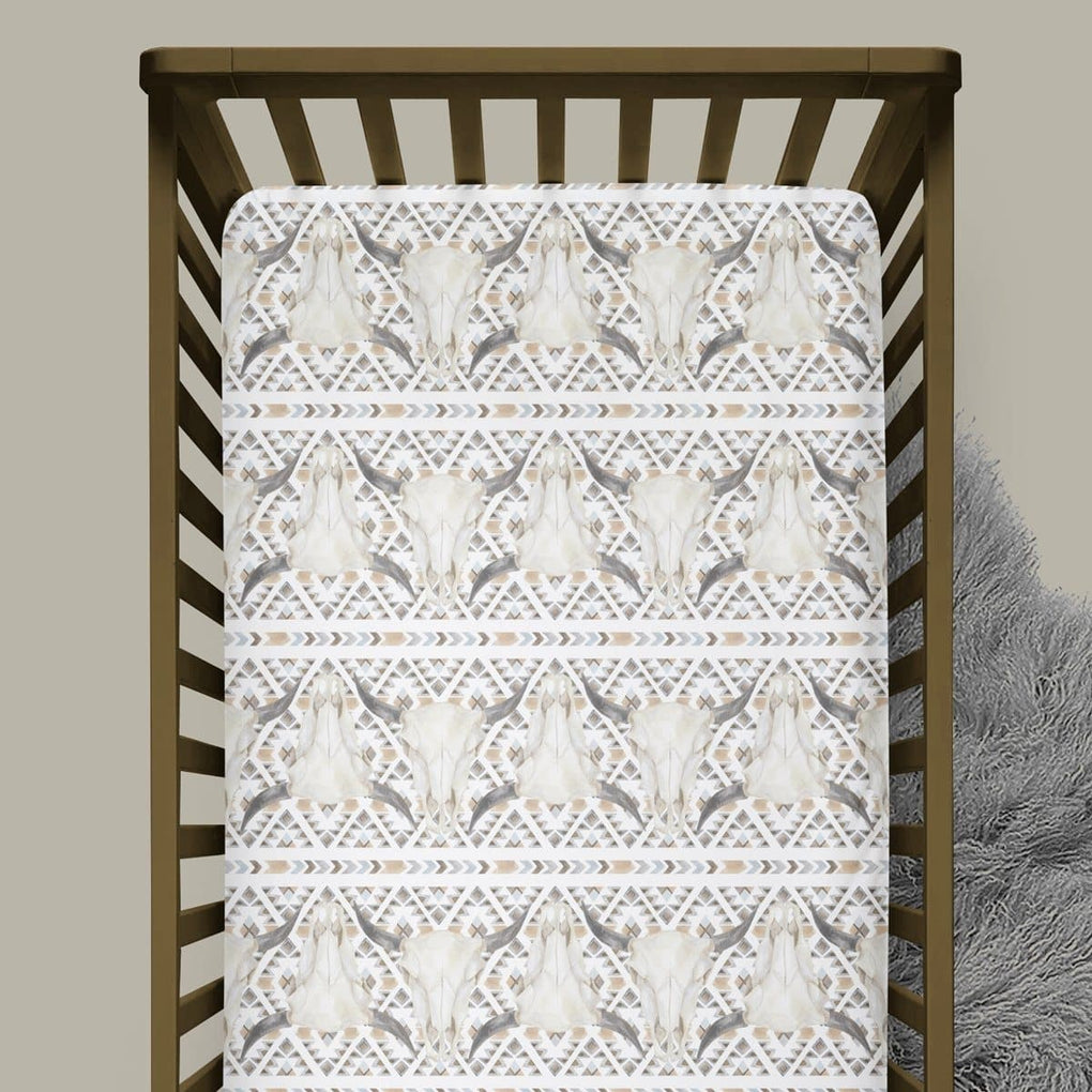 Boho Boy Bull Skull Crib Sheet Crib Sheet Modified Tot