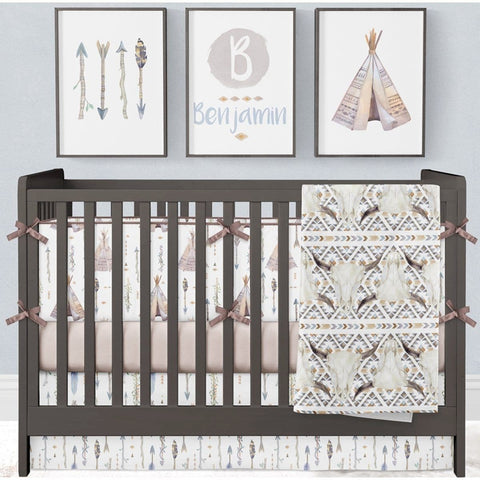 Boho Boy Crib Bedding (4 Pcs: Bumpers, Sheet, Skirt, Minky Blanket) Crib Bedding Modified Tot