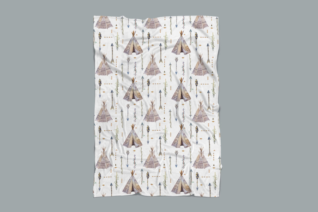 Boho Boy Teepee Minky Blanket Minky Blanket Modified Tot