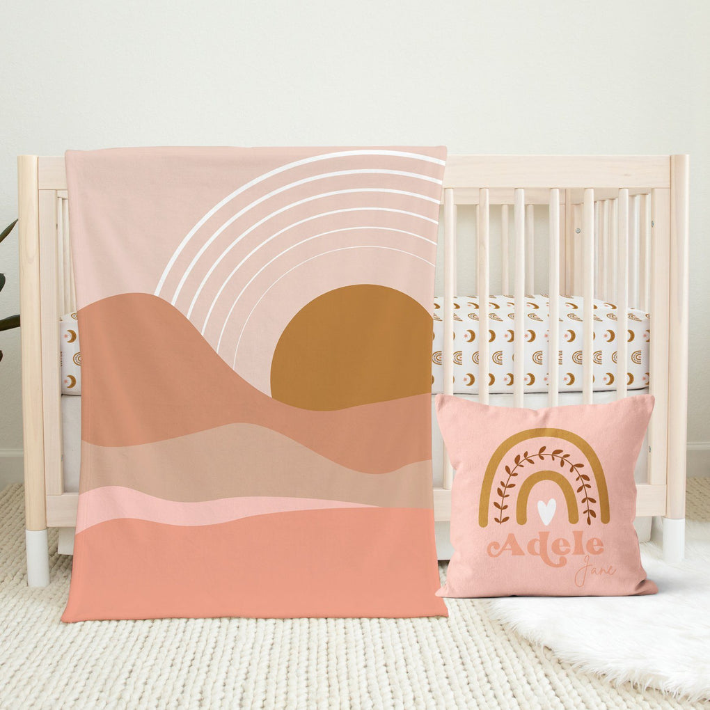 Boho Sunset Nursery Set Crib Bedding Modified Tot