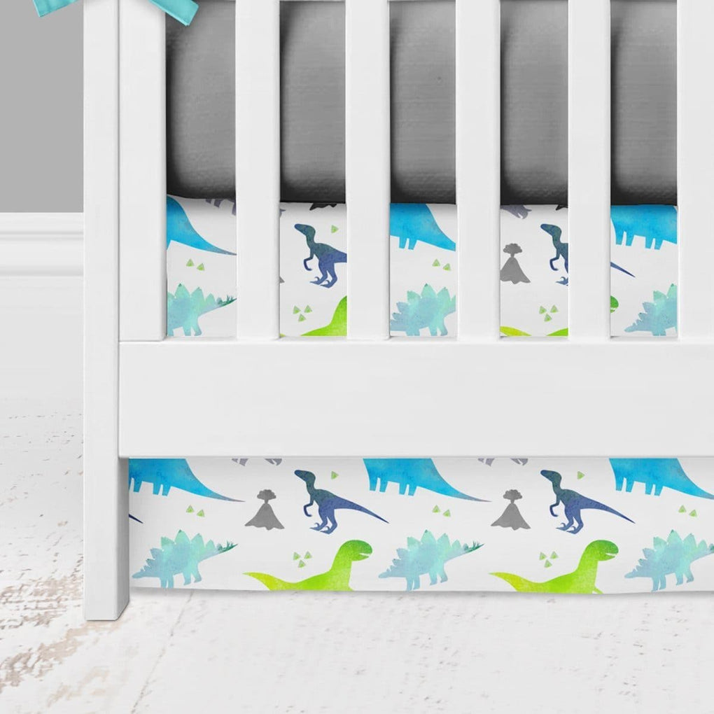Bright Dinosaur Bumperless Crib Bedding (4 Pcs: Rail Guards, Sheet, Skirt, Minky Blanket) Crib Bedding Modified Tot