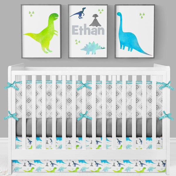 Bright Dinosaur Crib Bedding (3 Pcs: Bumpers, Sheet, Skirt) Crib Bedding Modified Tot