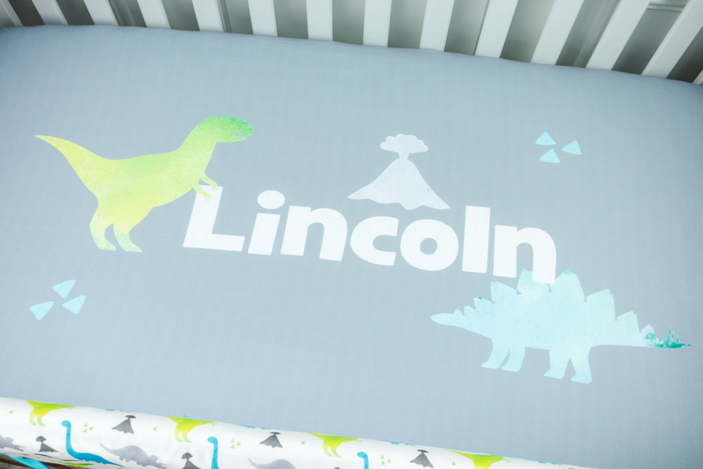 Bright Dinosaur Crib Bedding (4 Pcs: Bumpers, Sheet, Skirt, Minky Blanket) Crib Bedding Modified Tot