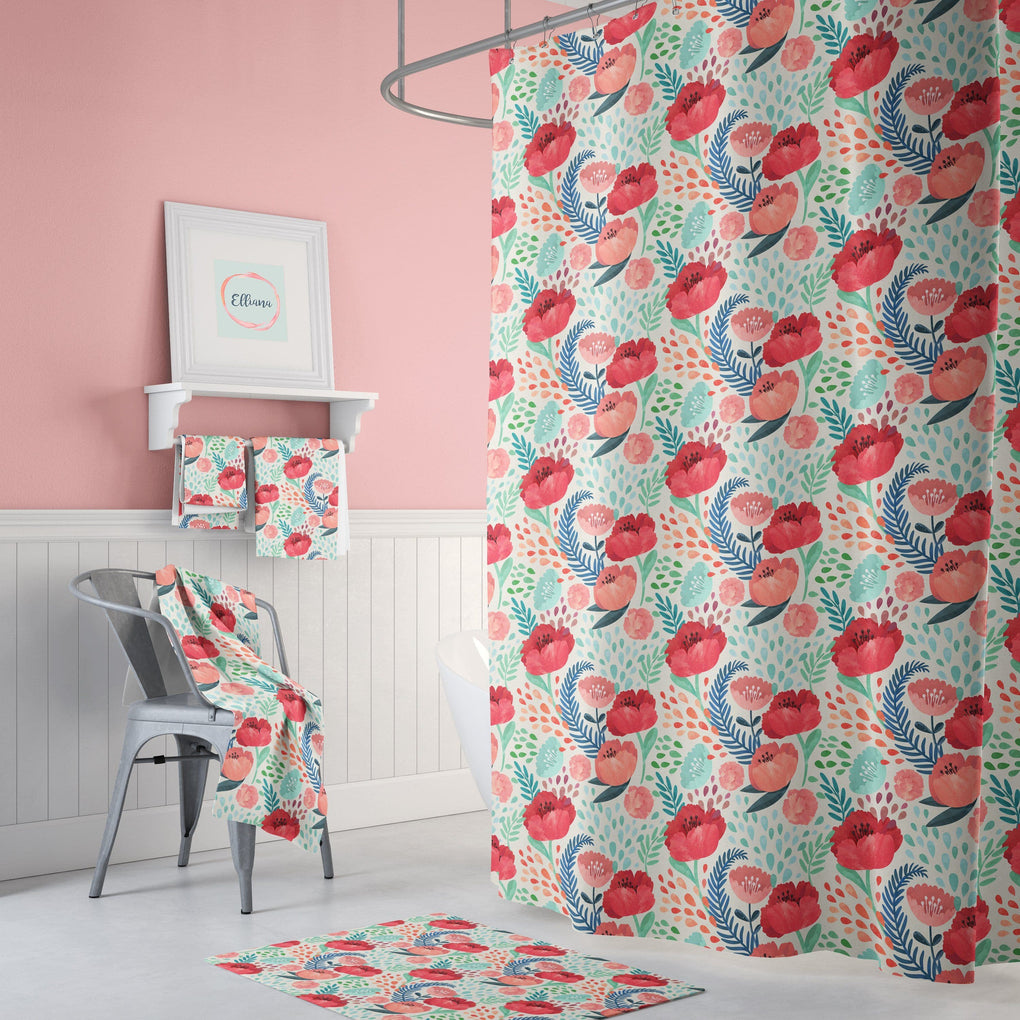 Bright Poppy Floral Bathroom Collection Bathroom Collection Modified Tot