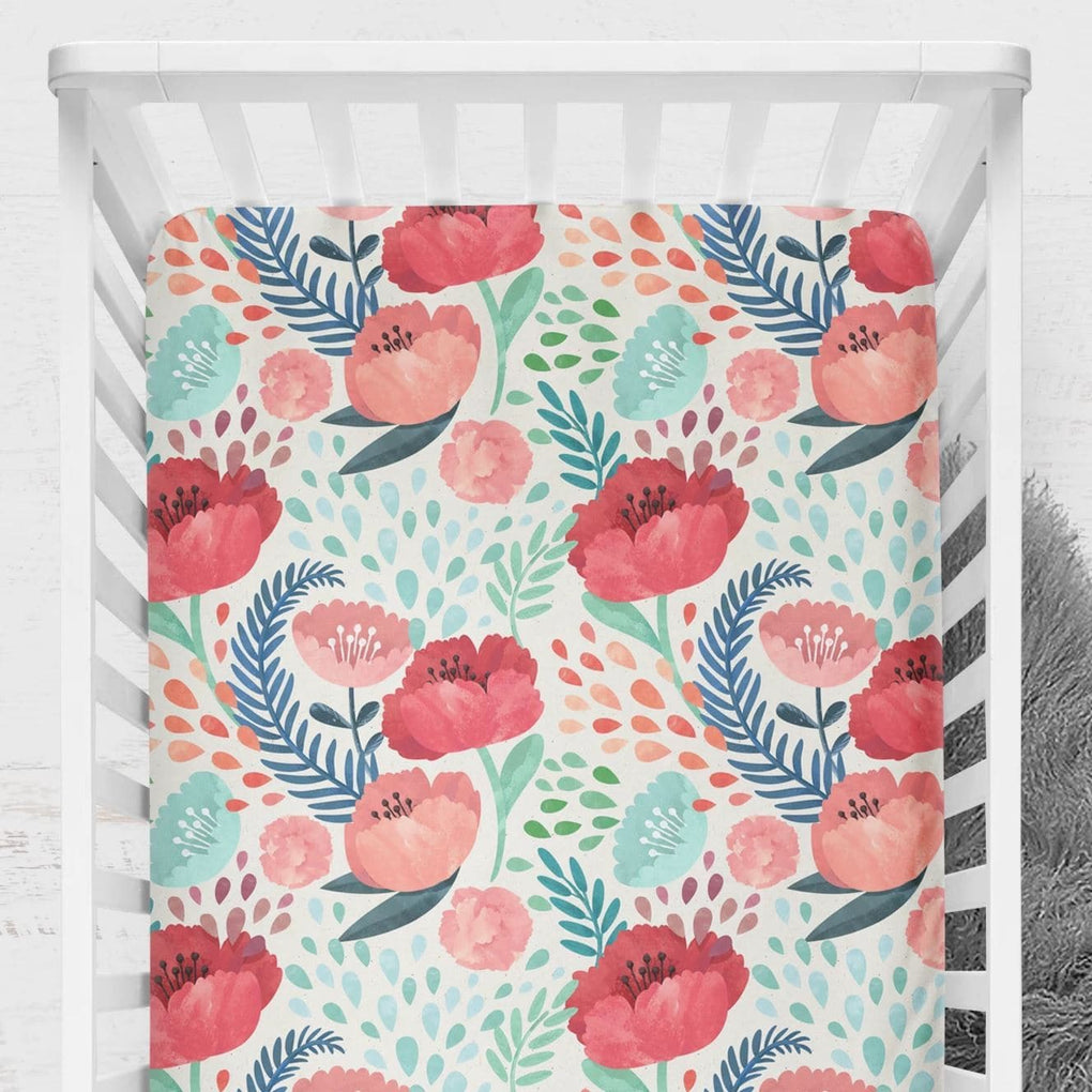 Bright Poppy Floral Crib Sheet Crib Sheet Modified Tot