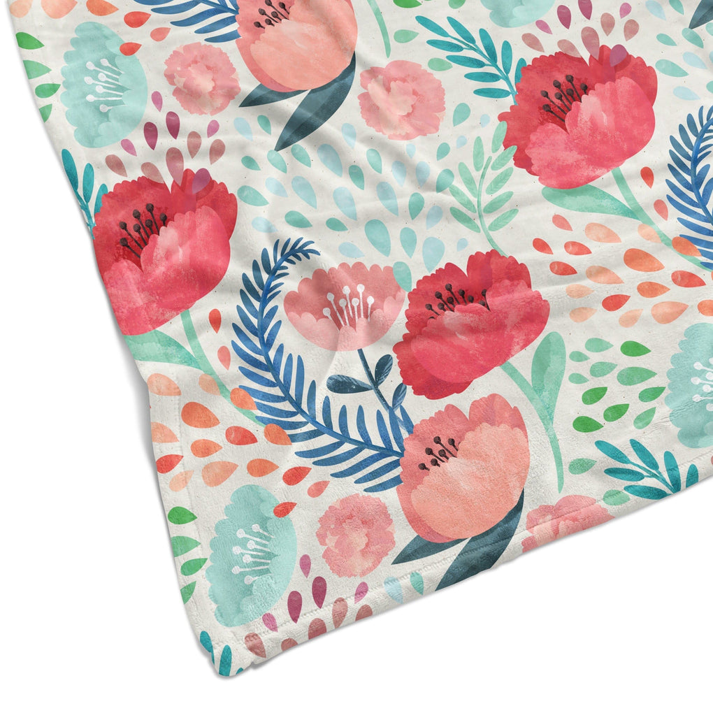 Bright Poppy Floral Minky Blanket Minky Blanket Modified Tot