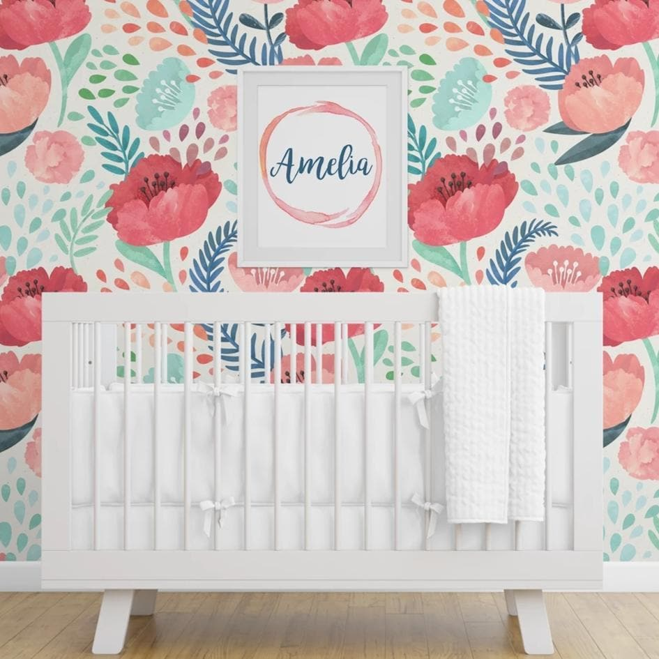 Bright Poppy Removable Wallpaper Wallpaper Modified Tot