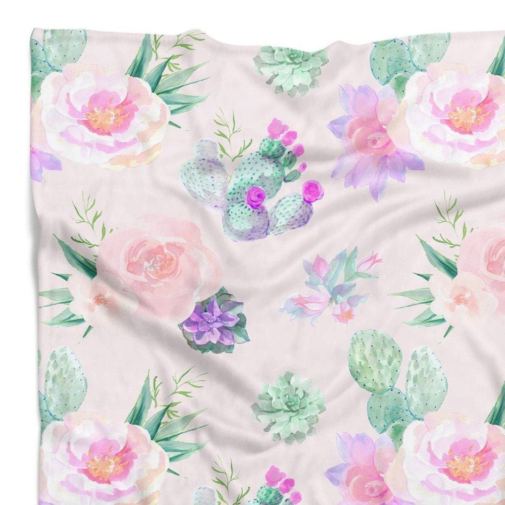 Cactus Floral Minky Blanket Minky Blanket Modified Tot