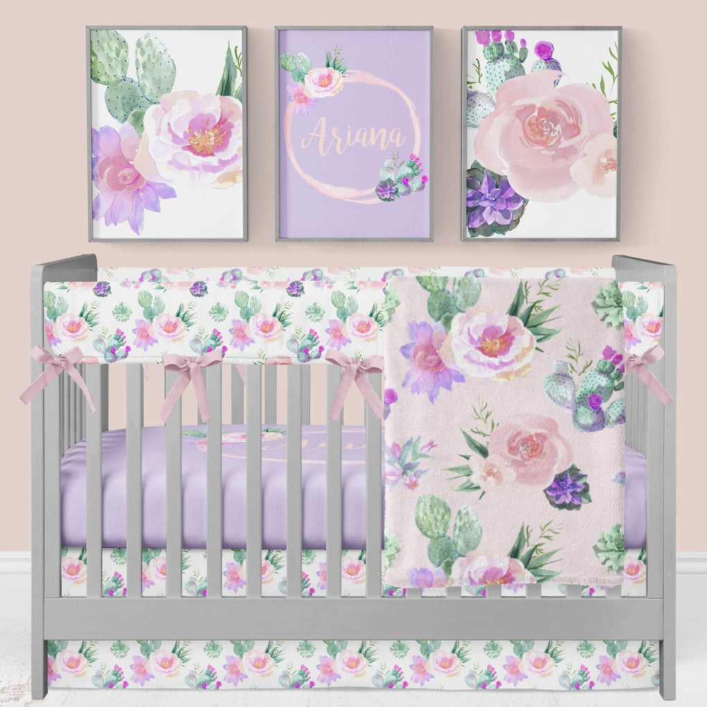 Cactus Floral Personalized Crib Sheet Crib Sheet Modified Tot