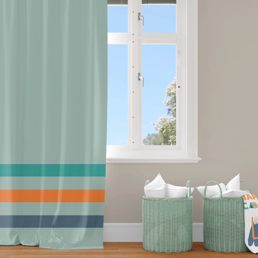 Camping Stripe Curtain Panel Curtain Panels Modified Tot