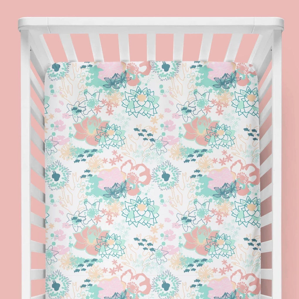 Coral Waves Floral Crib Sheet Crib Sheet Modified Tot