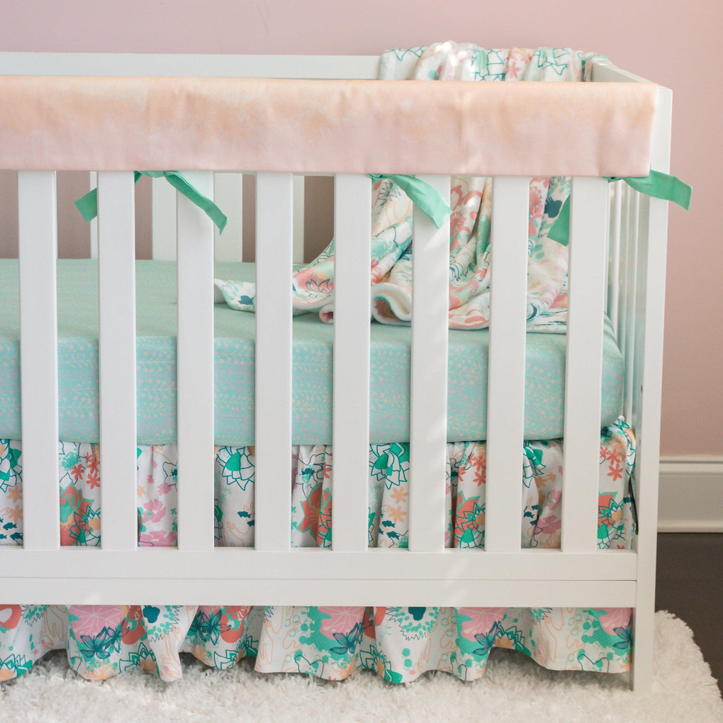 Coral Waves Gathered Floral Crib Skirt Crib Skirt Modified Tot