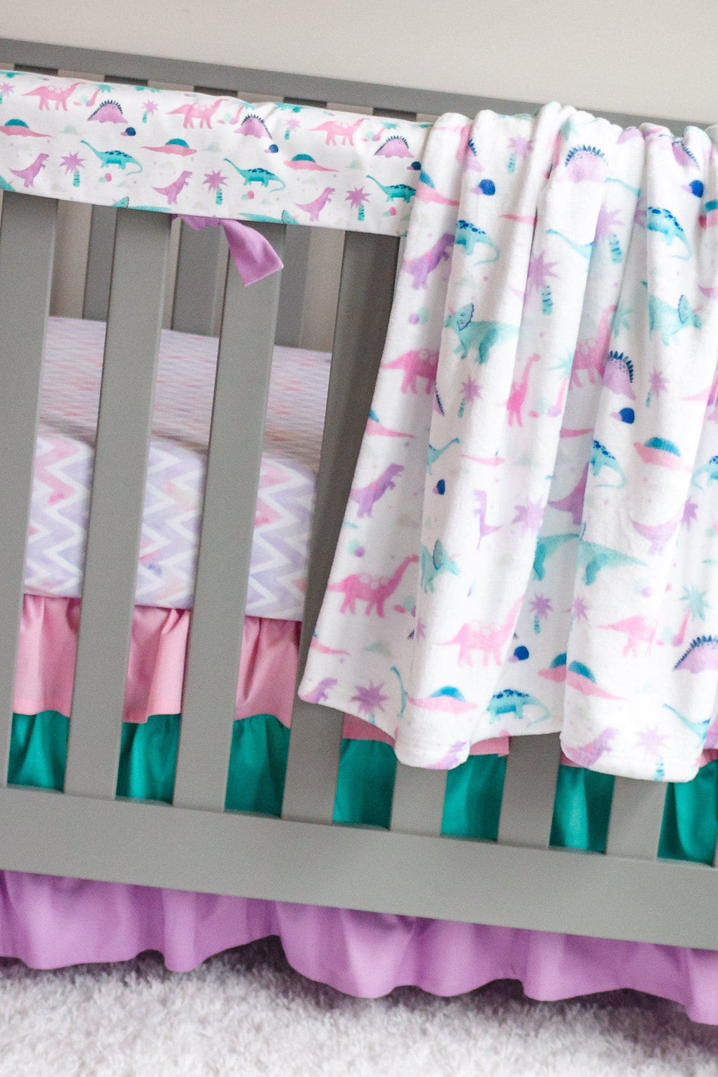 Dino Grrrl Chevron Crib Sheet Crib Sheet Modified Tot