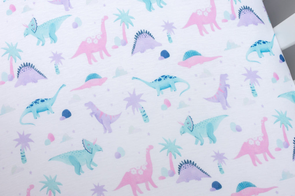Dino Grrrl Crib Bedding (3 Pcs: Sheet, Skirt, Minky Blanket) Crib Bedding Modified Tot
